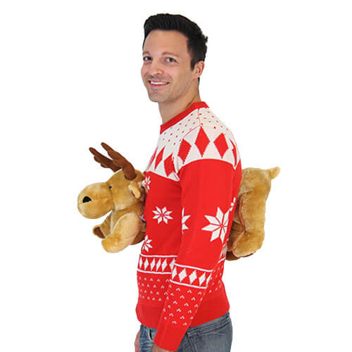Red 3D Christmas Sweater with Stuffed Moose (ALS Patch)