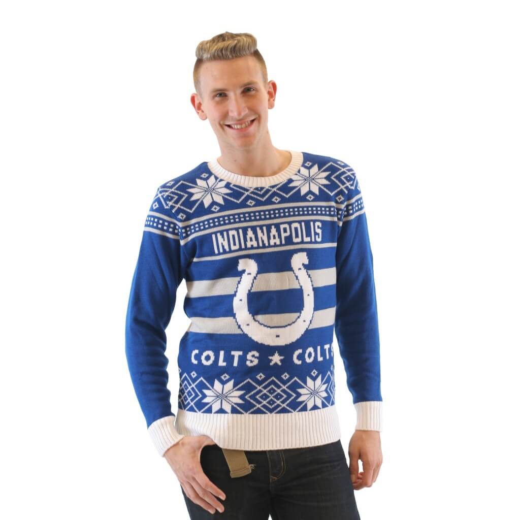 Blue And White Christmas Sweater.Women S Indianapolis Colts Blue White Ugly Christmas