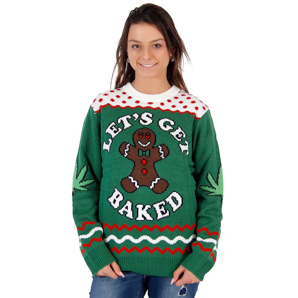 womens lets get baked happy gingerbread tacky christmas sweater - Ugly Christmas Sweater Dinosaur