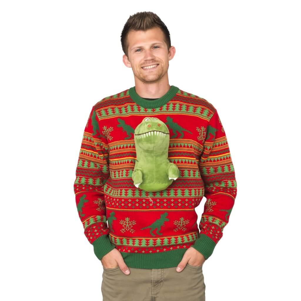 Mens 3D T-Rex Plushie Ugly Christmas Sweater