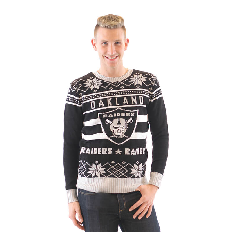 Womens Oakland Raiders Ugly Black Sweater 3 Ugly Christmas Sweaters