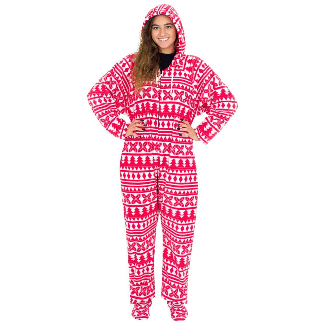 Red and White Ugly Christmas Pajama Suit with Hood