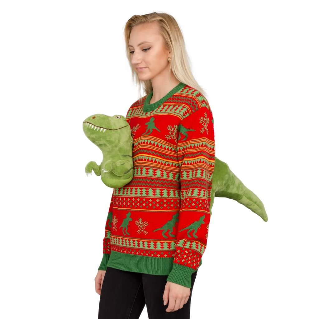 9df3ad51c96 Women s 3D T-Rex Plushie Ugly Christmas Sweater ...