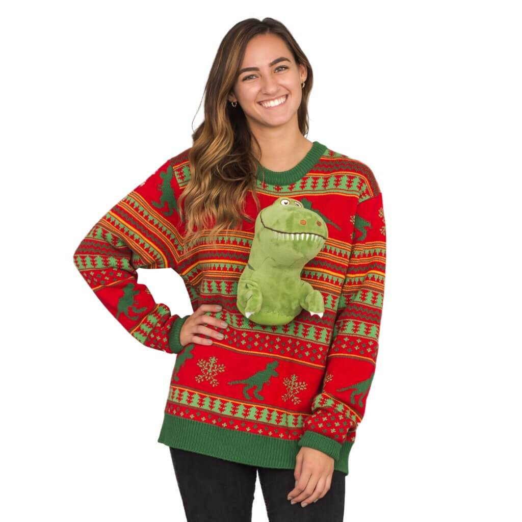 T Rex Christmas Sweater.Women S 3d T Rex Plushie Ugly Christmas Sweater