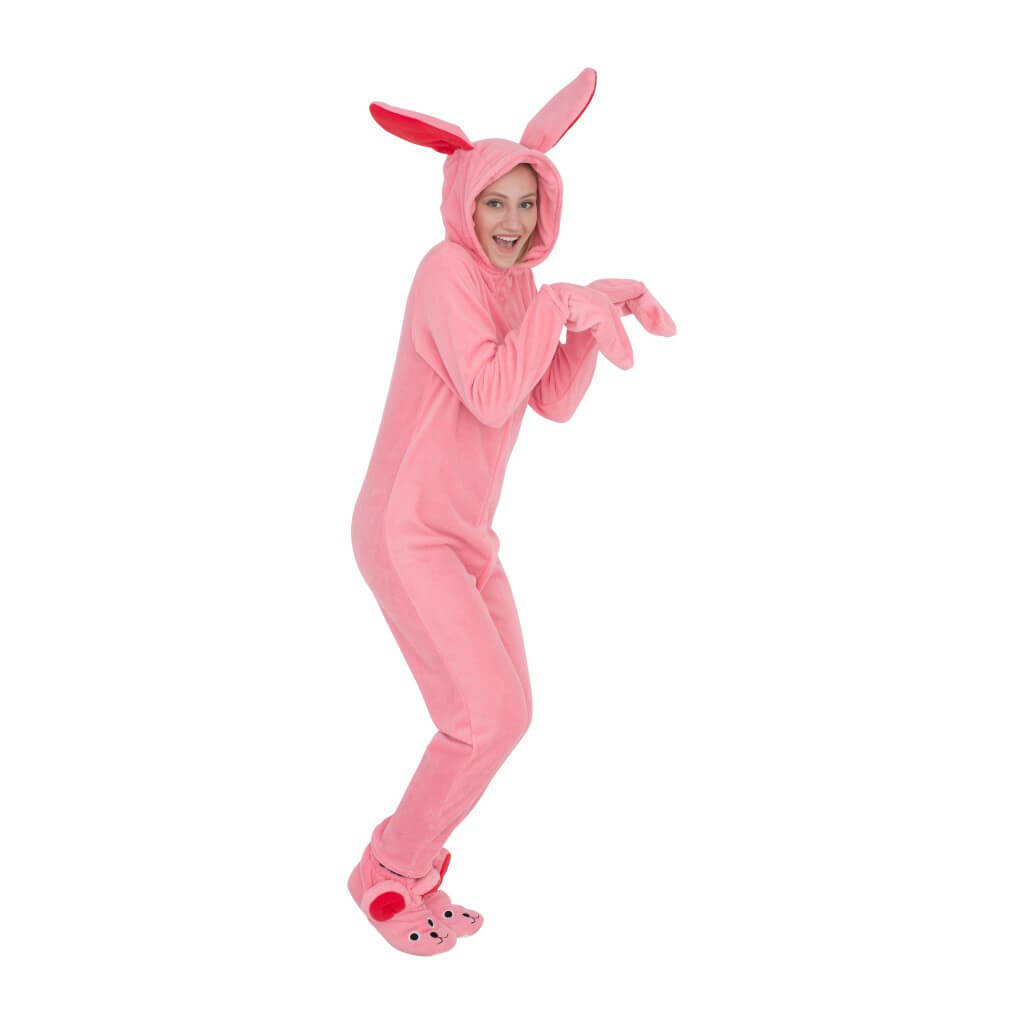 Women's A Christmas Story Bunny Union Suit Pajama Costume Side