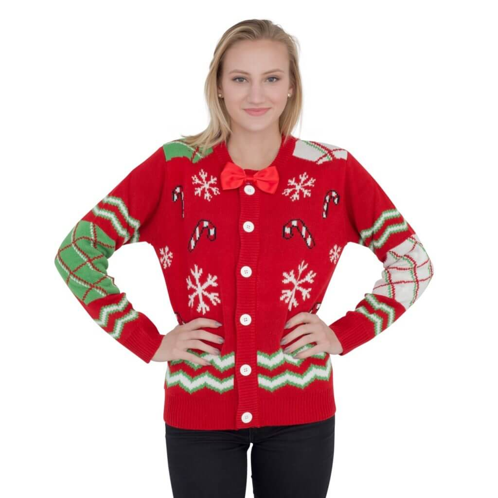 f32853ba0c1 Women s Candy Canes and Snowflakes Button Up Ugly Christmas Sweater with  Bowtie