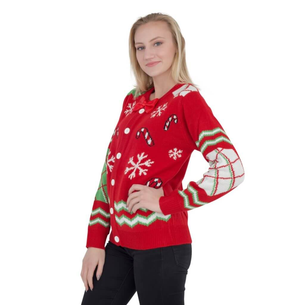 4fd7a7b6389 ... Women s Candy Canes and Snowflakes Button Up Ugly Christmas Sweater  with Bowtie ...