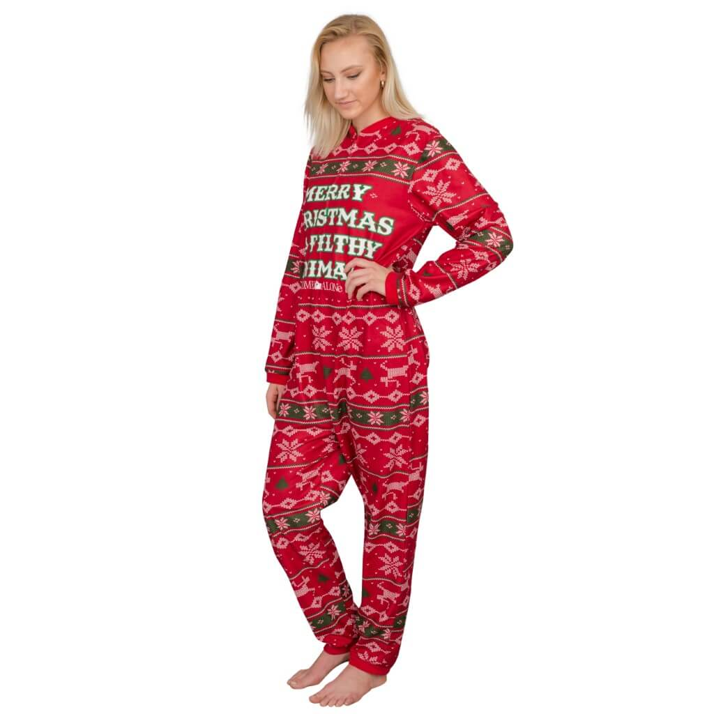 Women s Home Alone Merry Christmas Ya Filthy Animal Pajama Jump Suit ... 688f1e99d