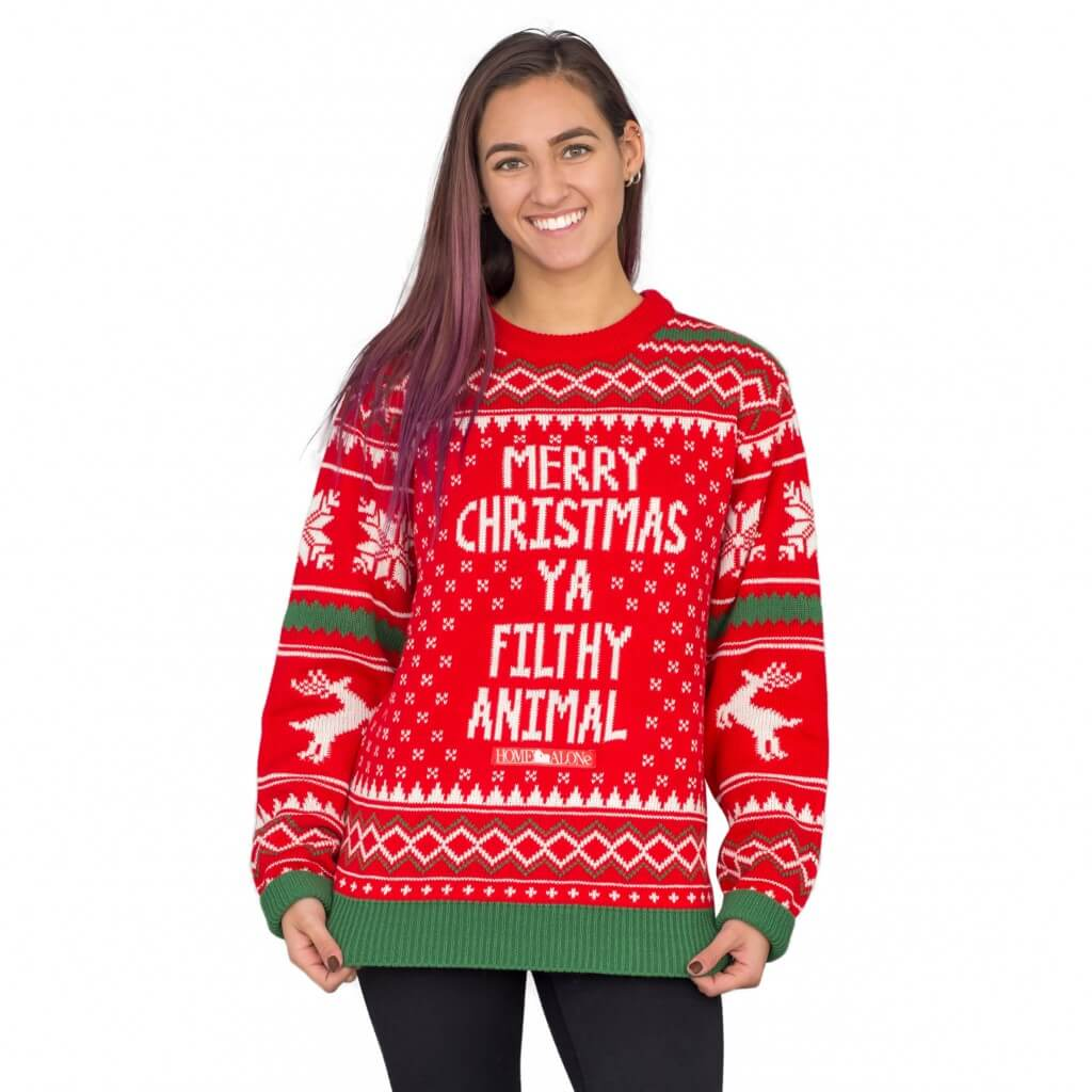 Women's Merry Christmas Ya Filthy Animal Snowflake and Reindeer Ugly Christmas Sweater
