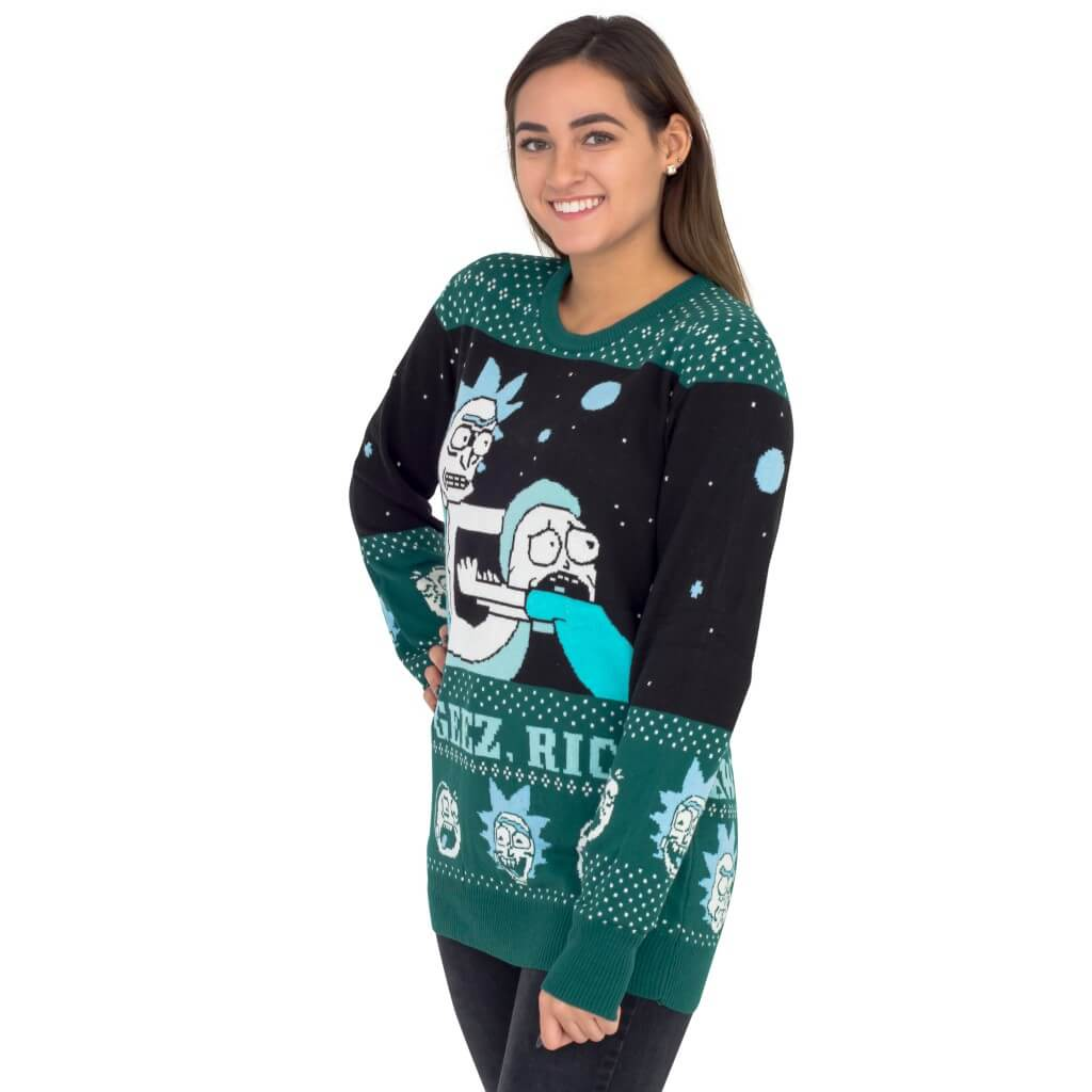 Women's Rick and Morty Aww Geez, Rick Ugly Christmas Sweater Side