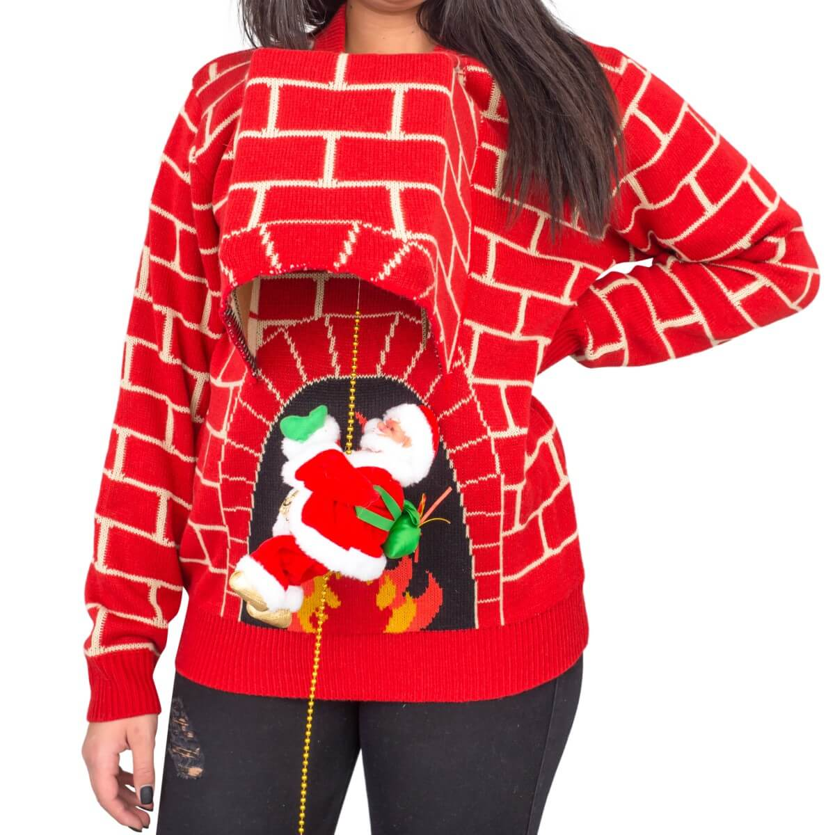 Women's Santa Claus 3D Chimney Climbing Ugly Christmas Sweater