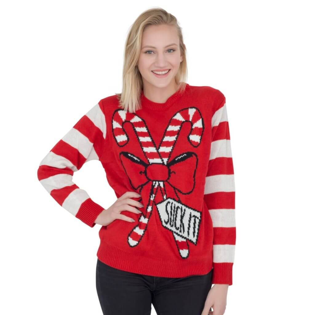 Womens Suck It Candy Cane Funny Ugly Sweater Christmas Sweaters Jaket Hoodie Pewdiepie Navy