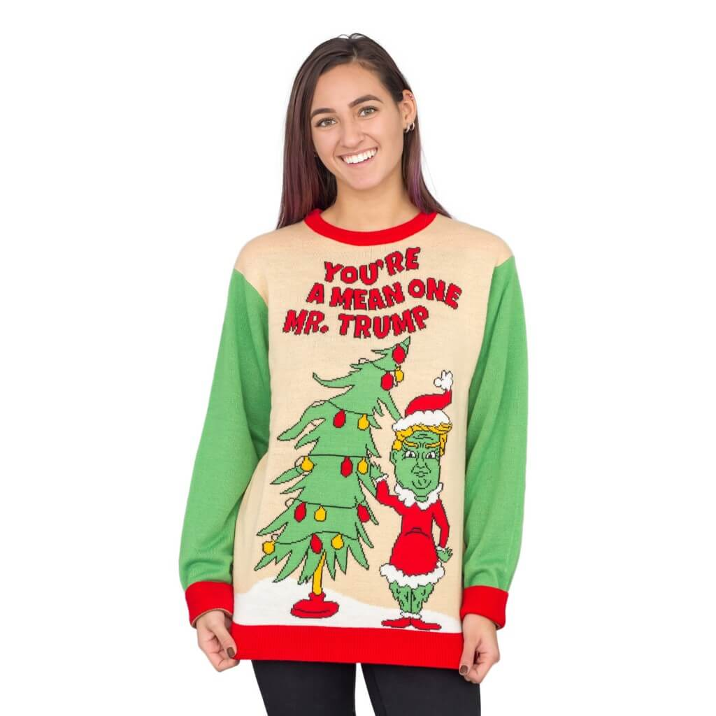 Women\'s You\'re a Mean One Mr. Trump Grinch Ugly Christmas Sweater