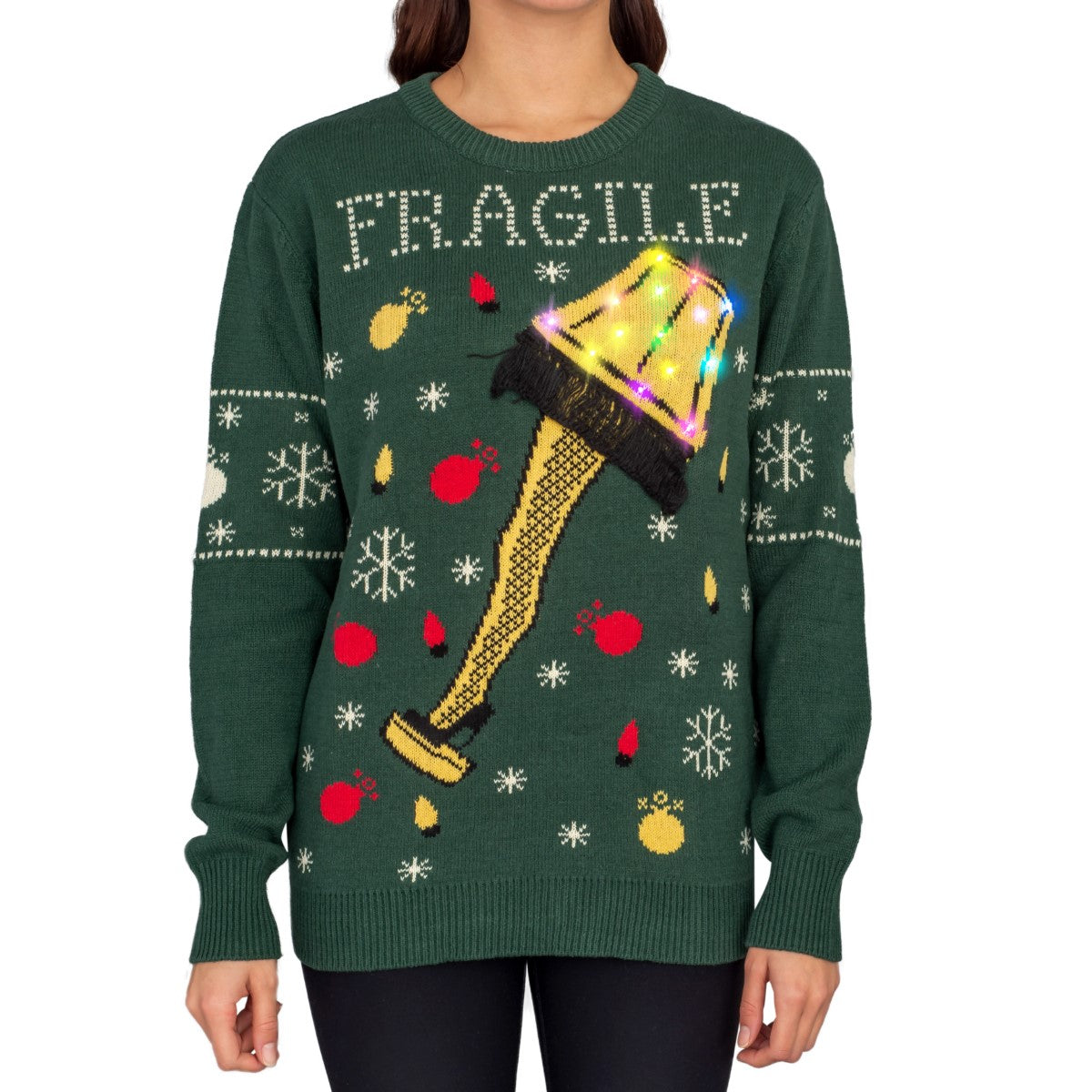 Women's A Christmas Story Fragile Leg Lamp Light Up (LED Lighting) Ugly Christmas Sweater