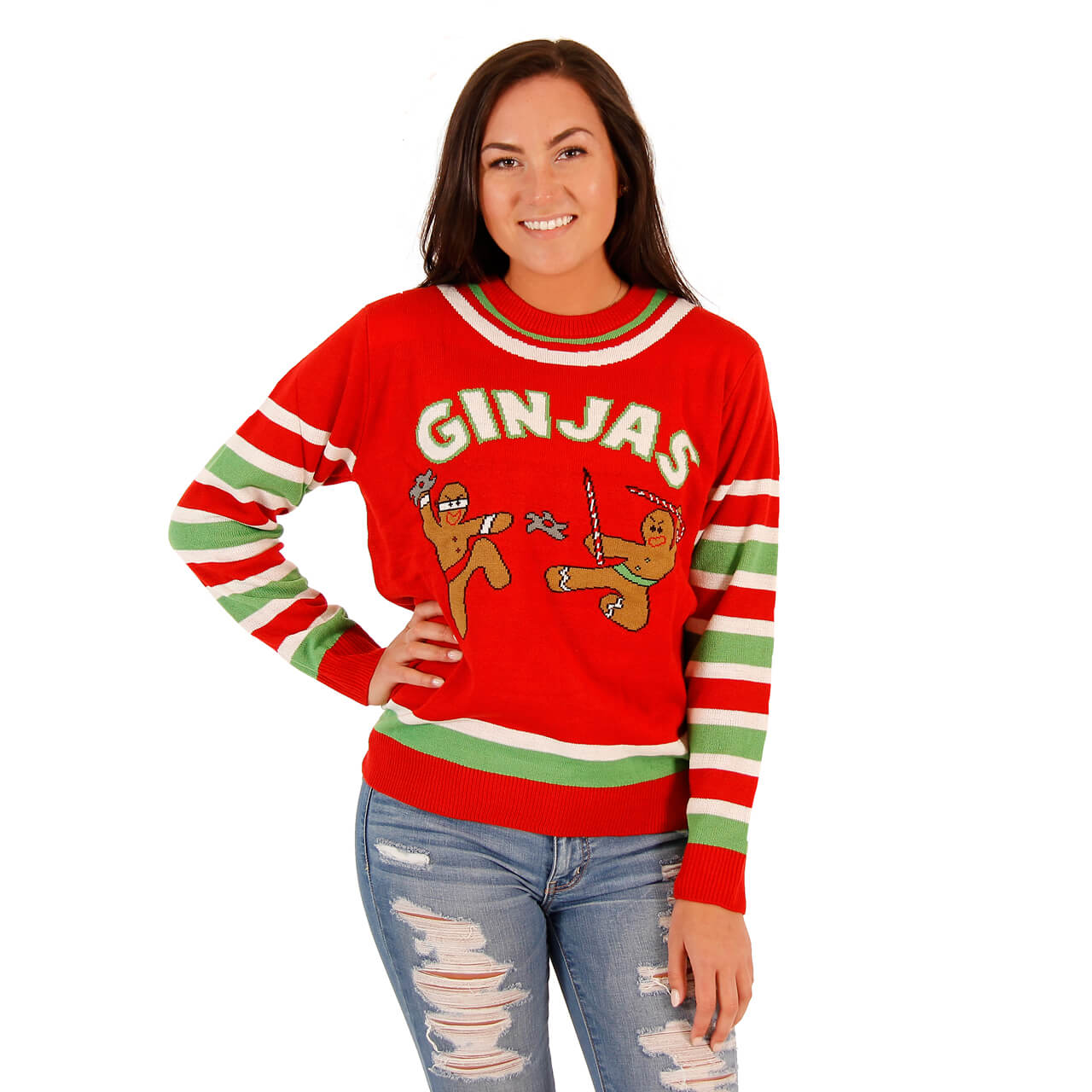 Womens Fighting Ginger Breadmen Ginjas Red Ugly Christmas Sweater