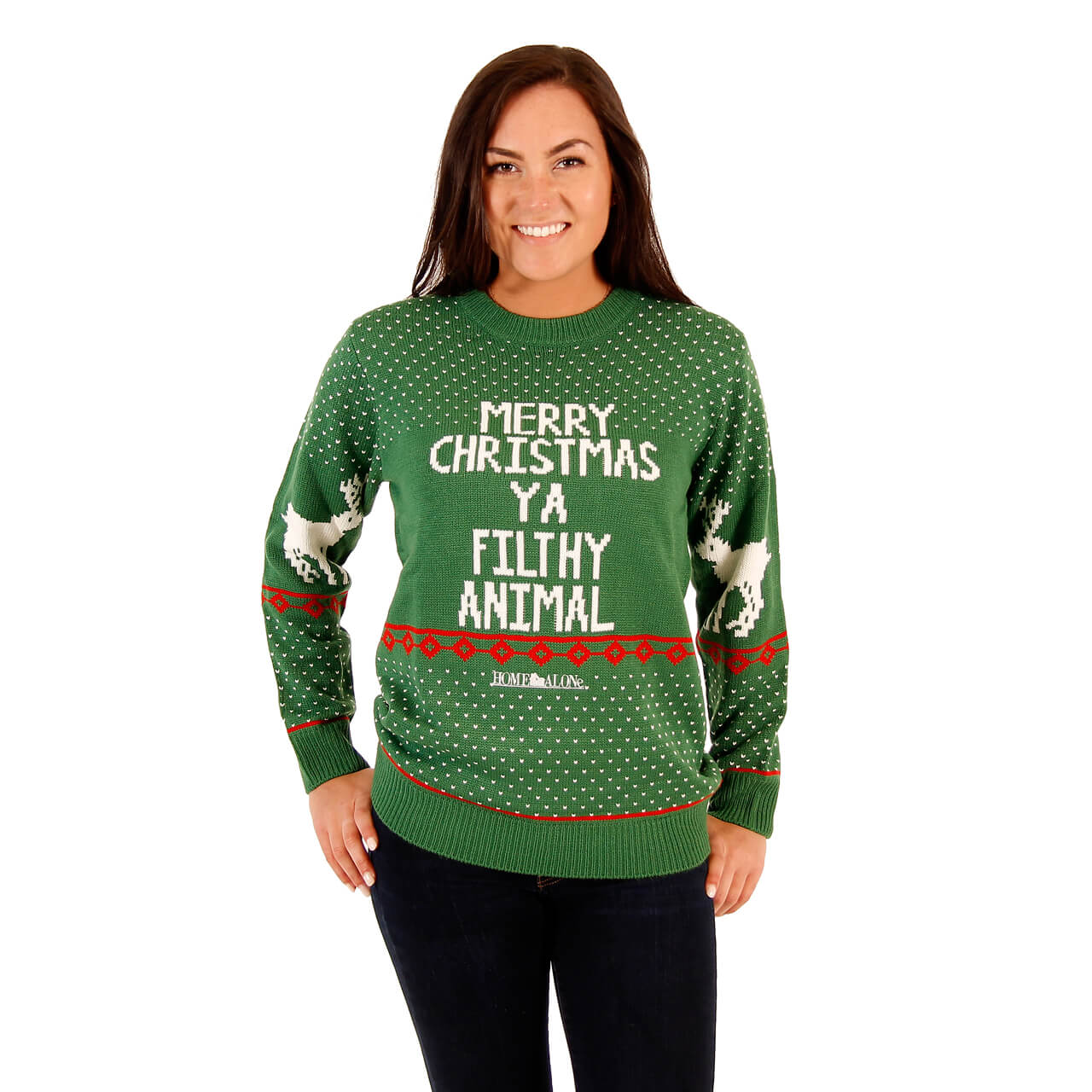 Womens Green Home Alone Merry Christmas Ya Filthy Animal Sweater