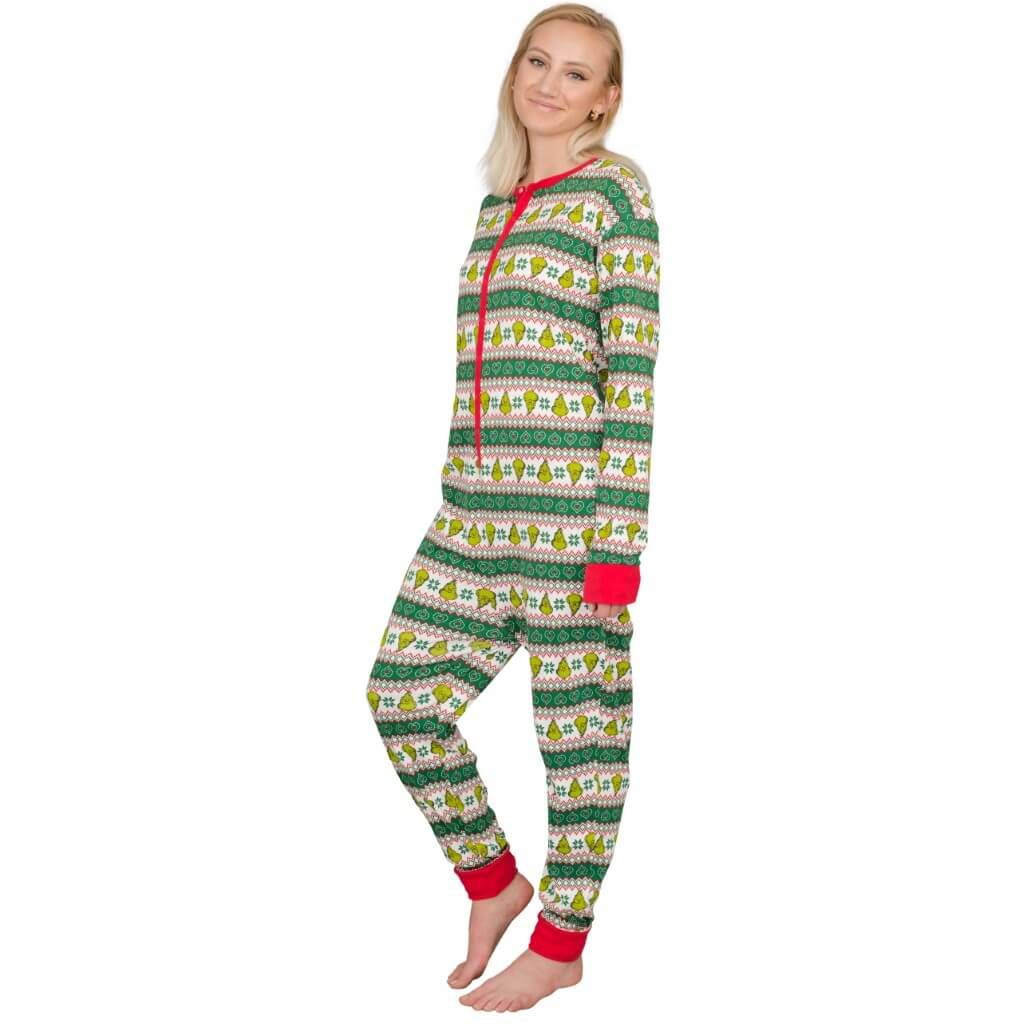 Women's Grinch Family Faces Christmas Pajama Union Suit