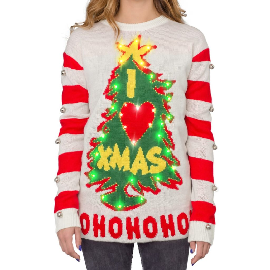 Women's I Love Xmas HOHOHO Grinch Light Up (LED) Christmas Tree and Star Ugly Christmas Sweater