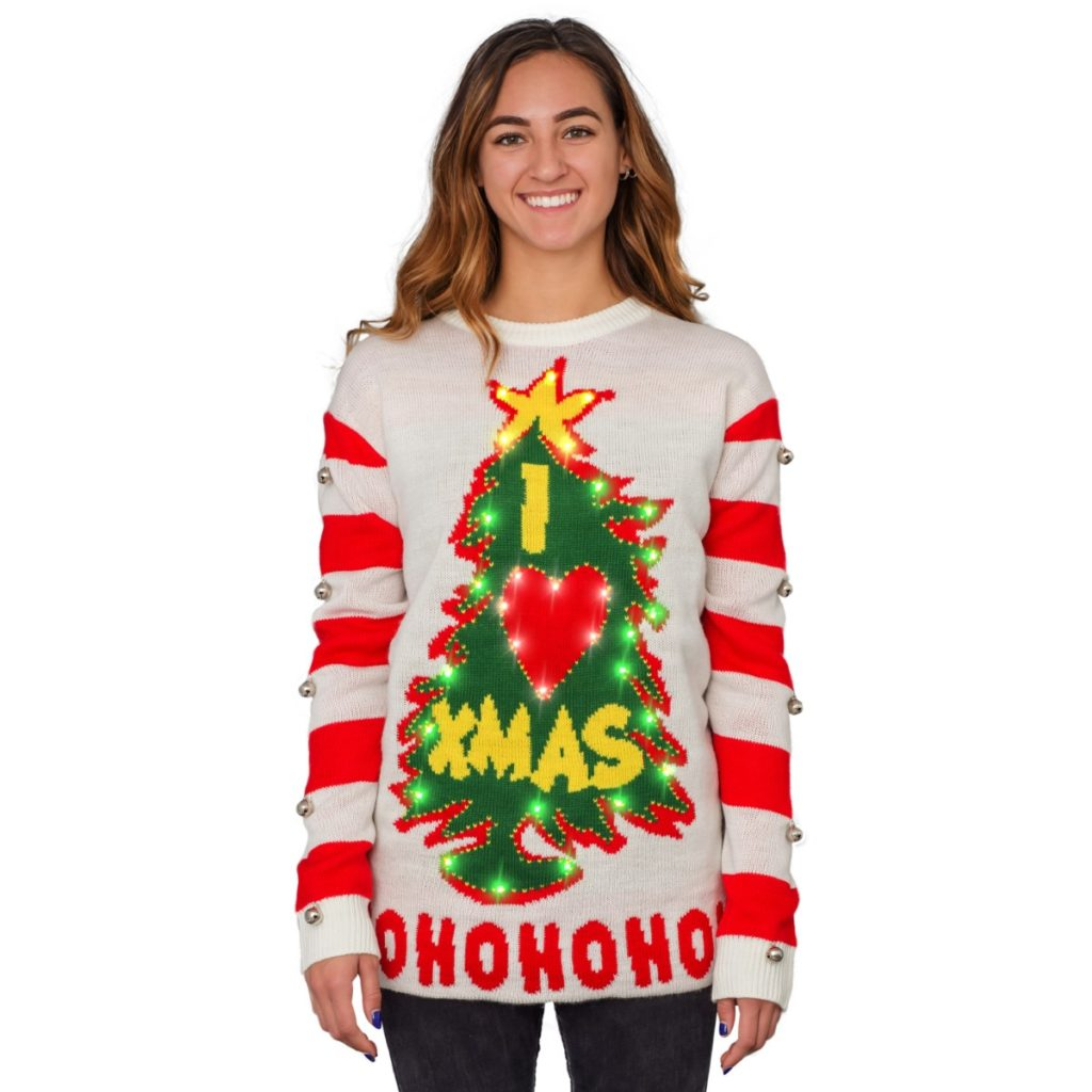 I Love Xmas HOHOHO Grinch Light Up (LED) Christmas Tree and Star Ugly Christmas Sweater