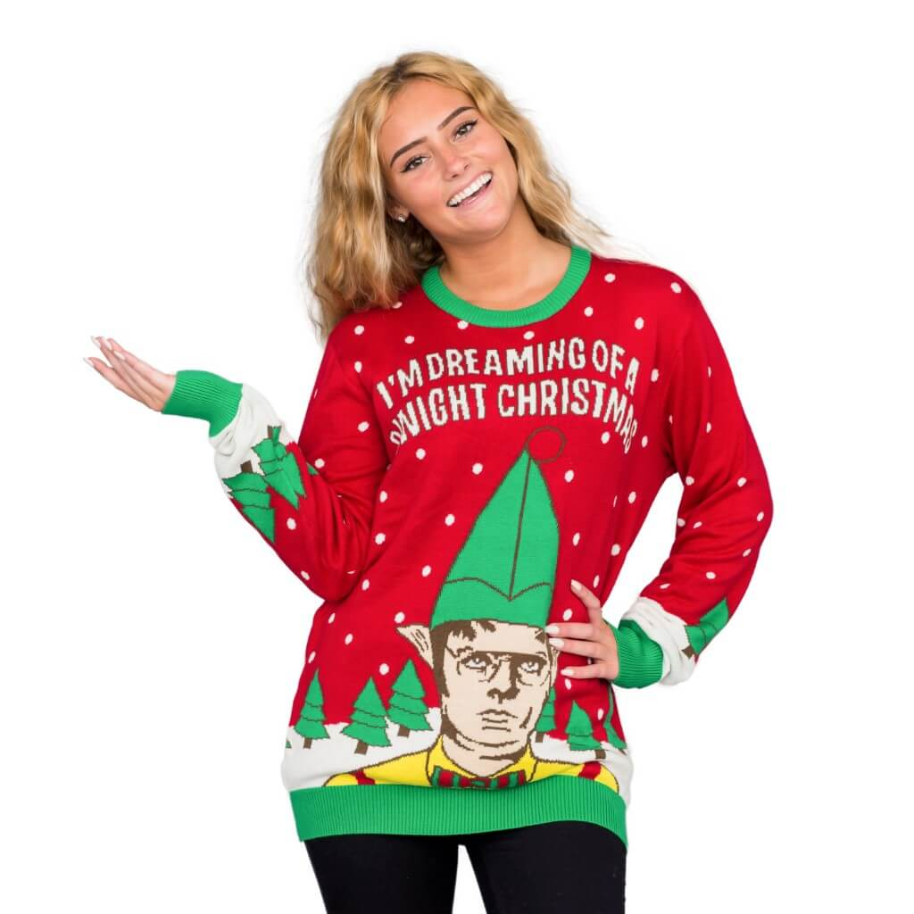 Christmas Ugly Sweater.Women S I M Dreaming Of A Dwight Christmas Ugly Christmas Sweater