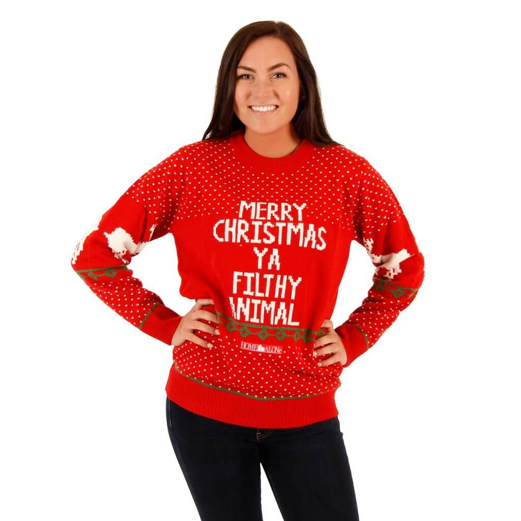 Womens Red Home Alone Merry Christmas Ya Filthy Animal Sweater
