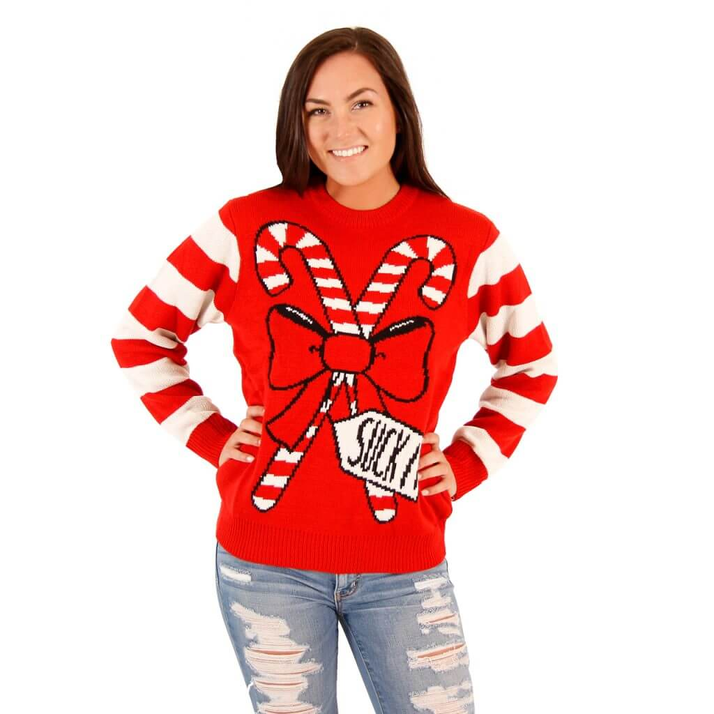 ec4a90568c3 Womens Suck It Candy Cane Funny Ugly Sweater - Ugly Christmas Sweaters