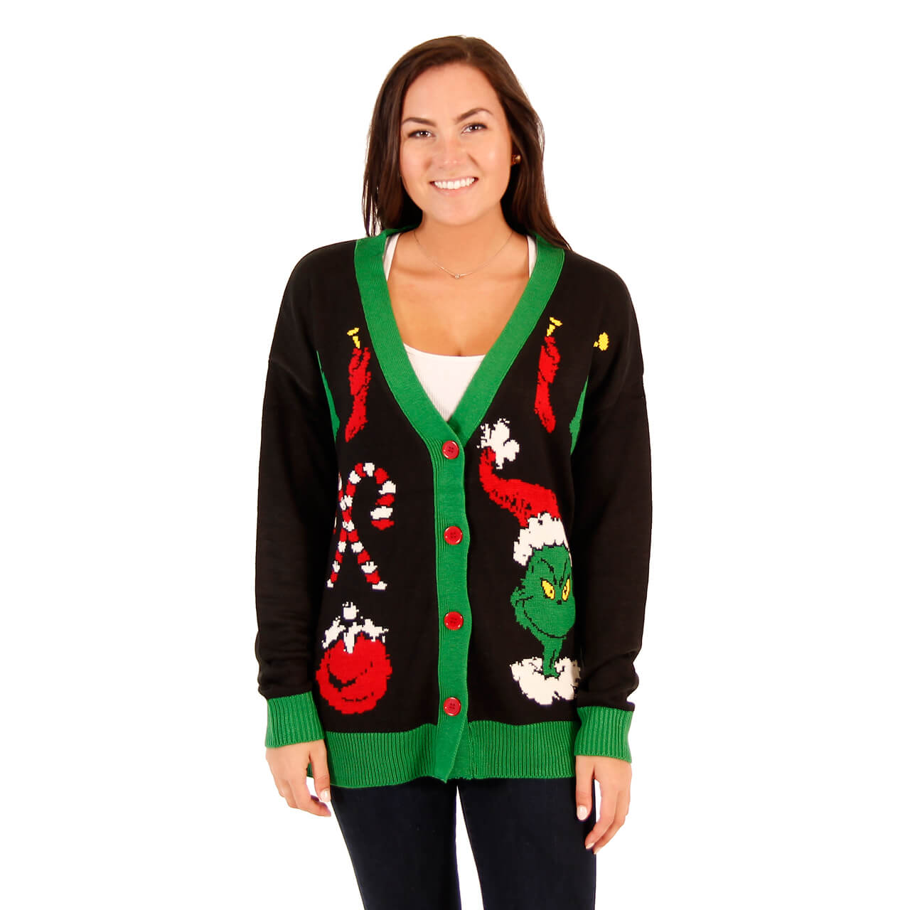 Womens The Grinch Ugly Christmas Cardigan Sweater
