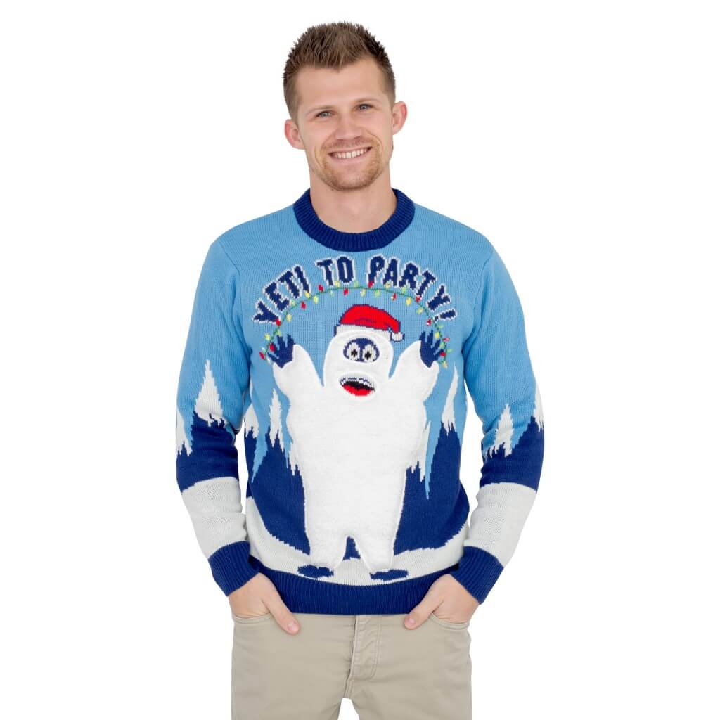 Yeti To Party Abominable Snowman Light Up Led Ugly Sweater