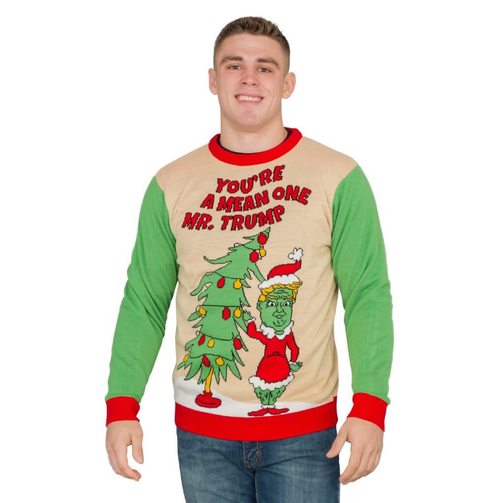 2 Person Christmas Sweater.You Re A Mean One Mr Trump Grinch Ugly Christmas Sweater