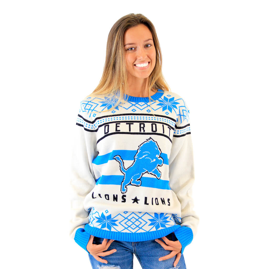 8ba2849d166 Detroit Lions Ugly Off-White Sweater - Ugly Christmas Sweaters