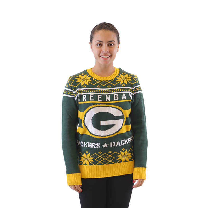 Womens Green Bay Packers Ugly Christmas Sweater 3 Ugly Christmas