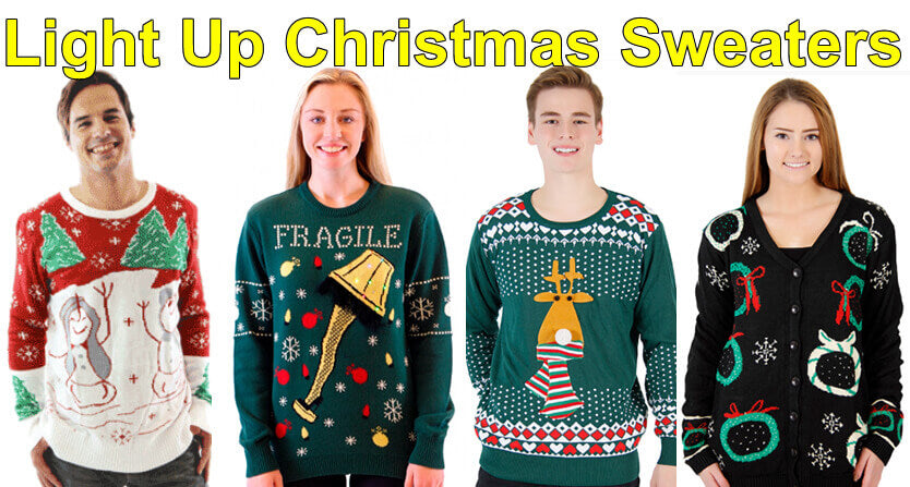 - Light Up Christmas Sweaters - Black Cardigans, Crazy Snowmen, And More