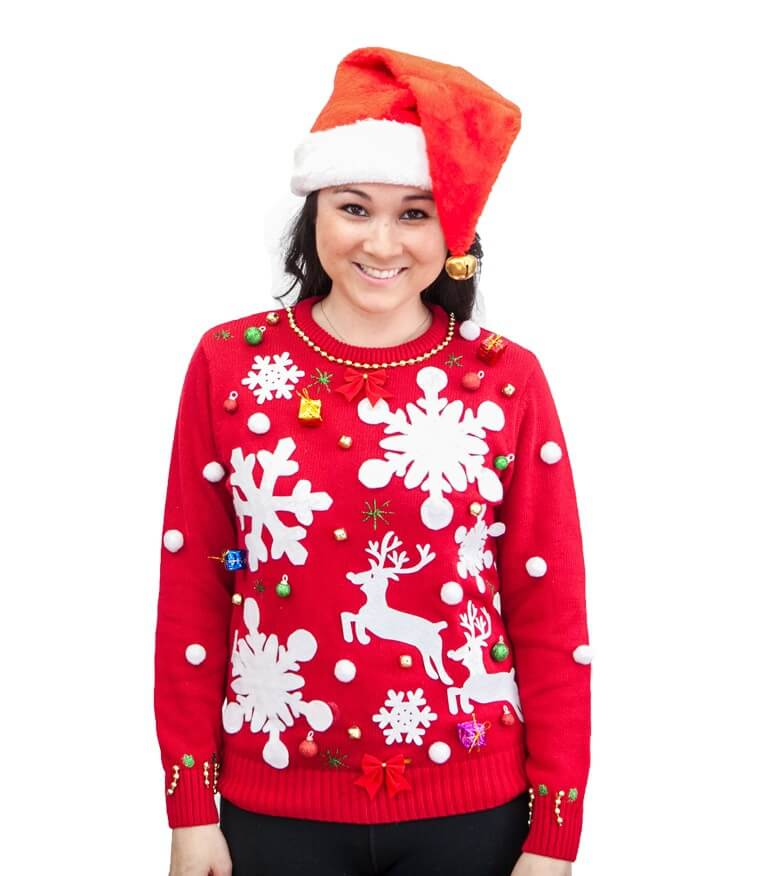 - Women's Ugly Christmas Sweater Kit (Free LED Ornaments Included!)