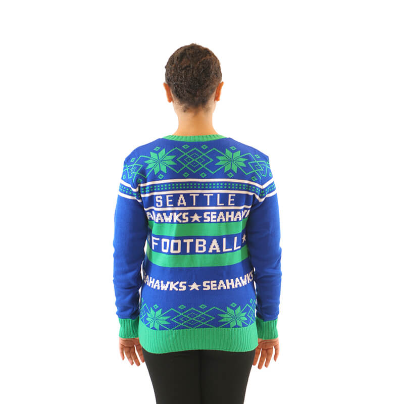 Womens Seattle Seahawks Blue Ugly Christmas Sweater 4 Ugly