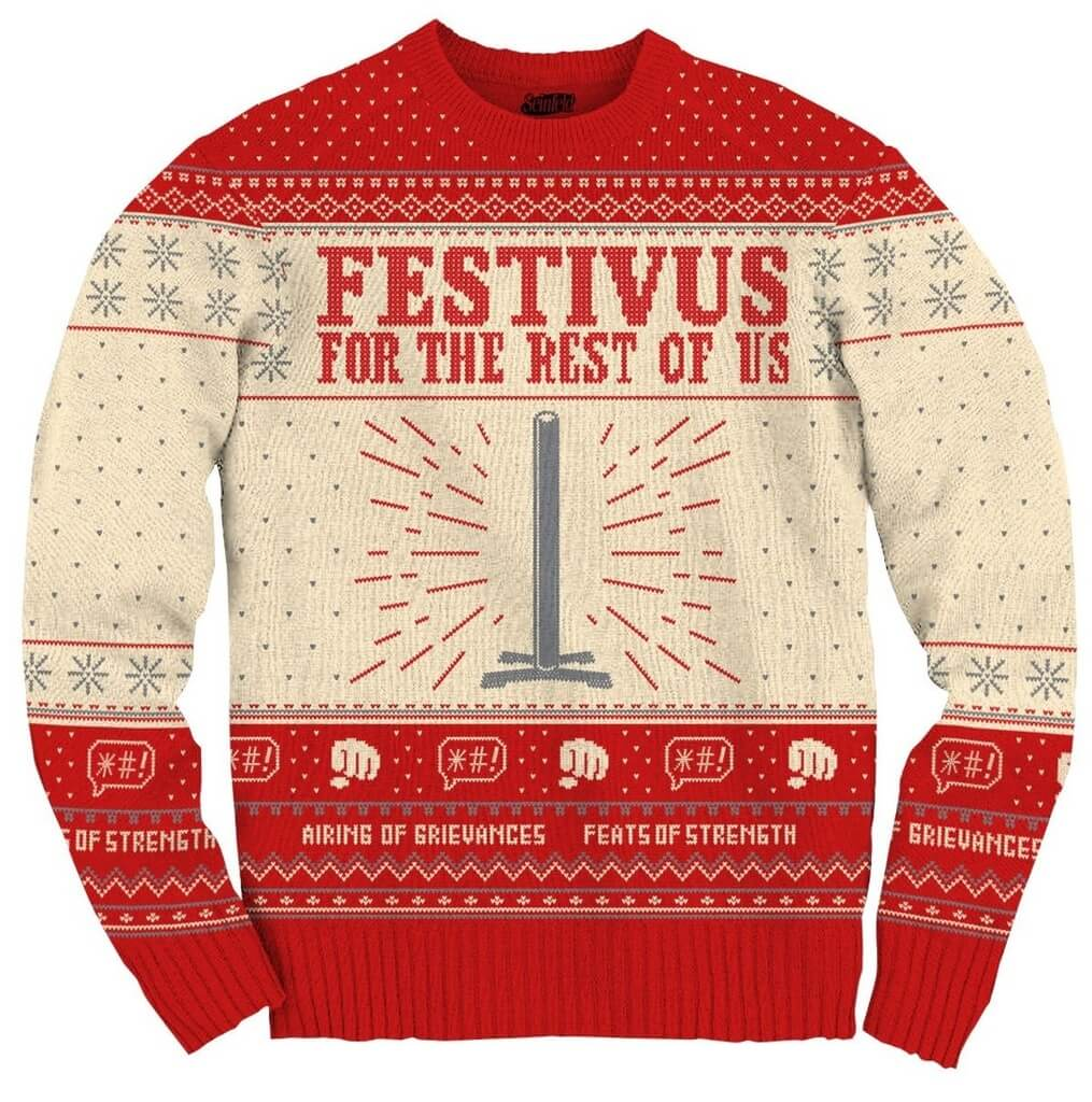 Women's Seinfeld Festivus For The Rest Of Us Pole Sweater - Front
