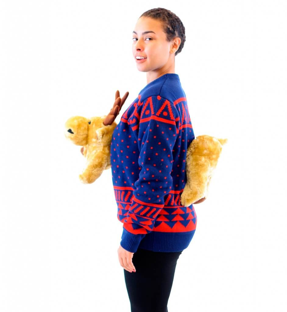 """Women's Navy 3-D Christmas Sweater with Stuffed Moose Ugly Christmas Sweater (Size: L)"""
