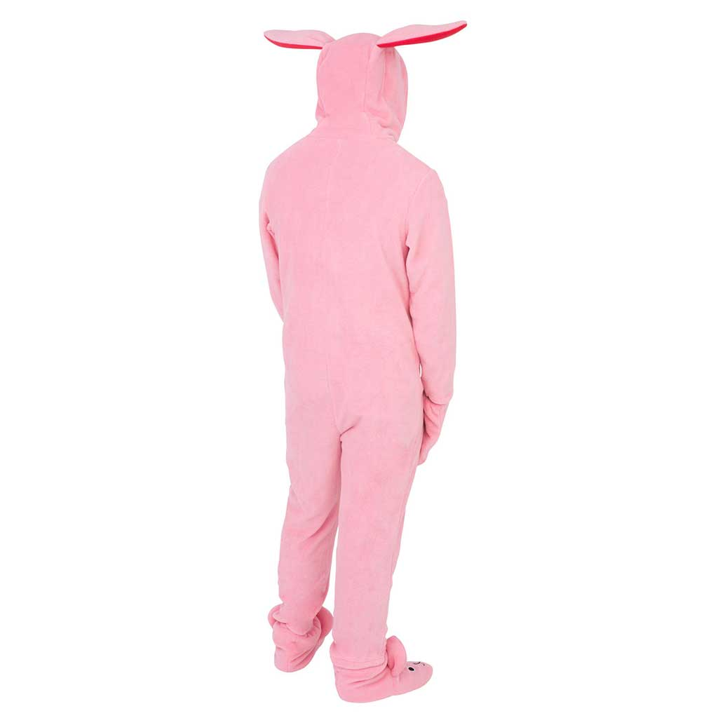 mens a christmas story bunny union suit pajama costume back
