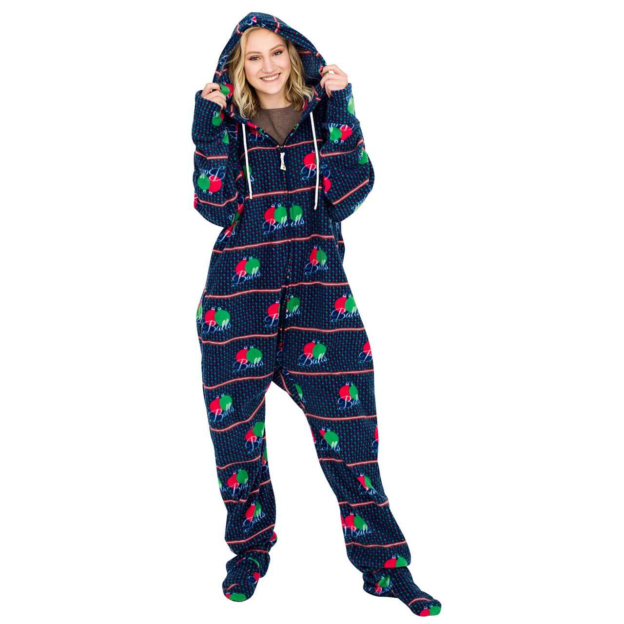 balls ugly christmas lazy black pajama suit with hoodballs ugly christmas lazy black pajama suit with hood side