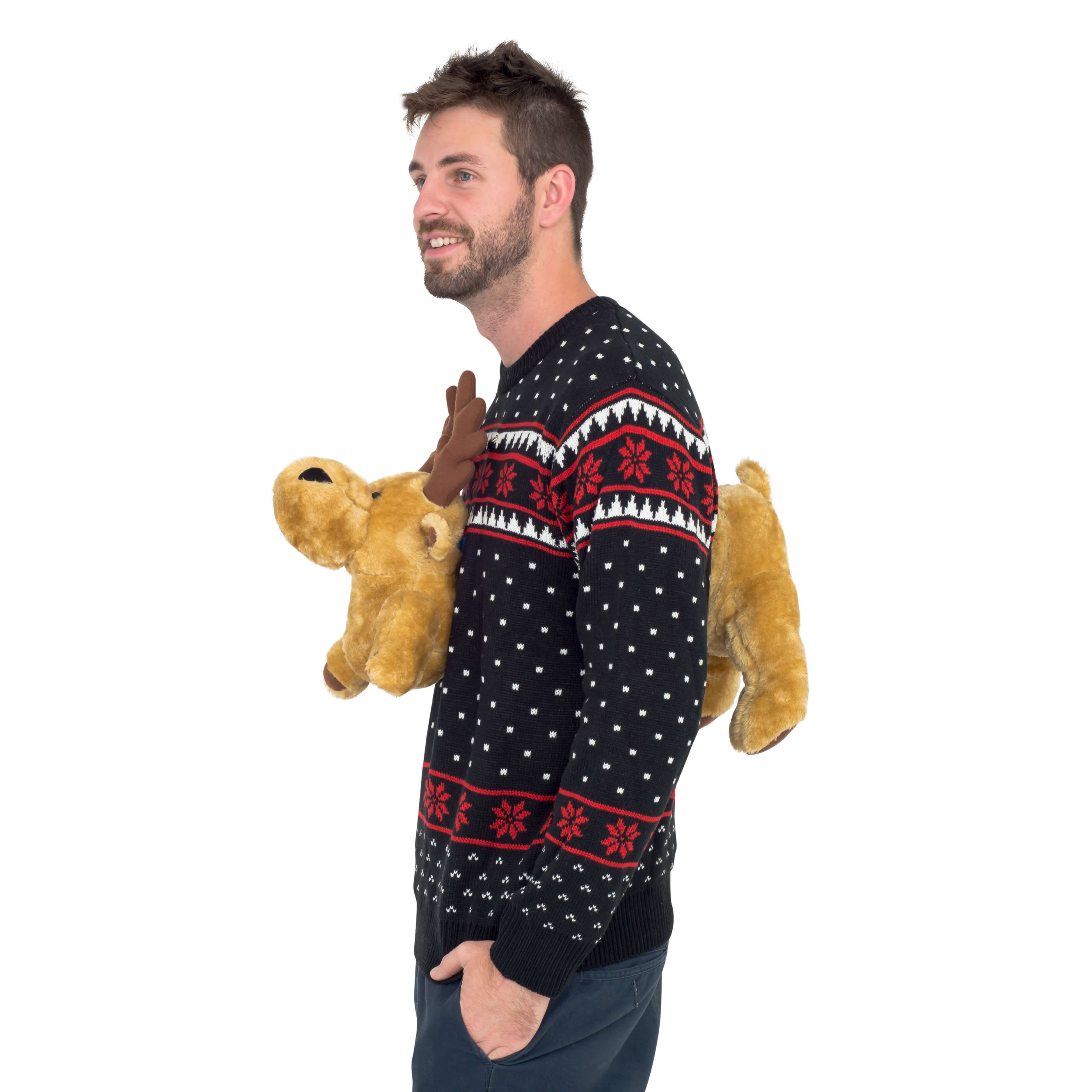 Black 3-D Sweater with Stuffed Moose