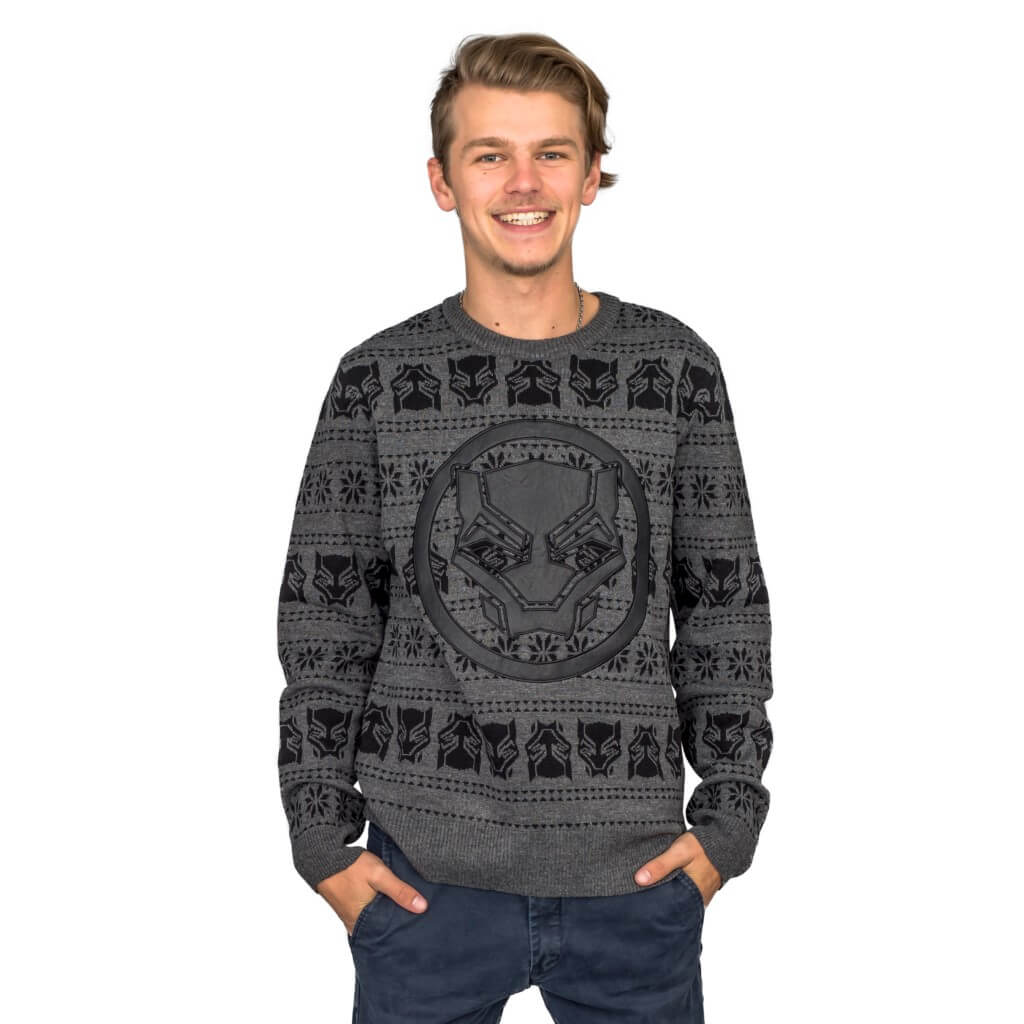 Black Panther Ugly Christmas Sweater (Size: 3XL)