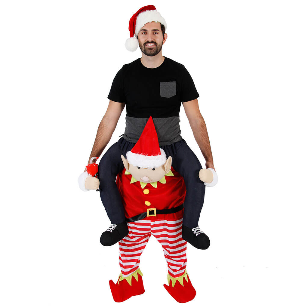 christmas piggyback ride on tipsy elf costume