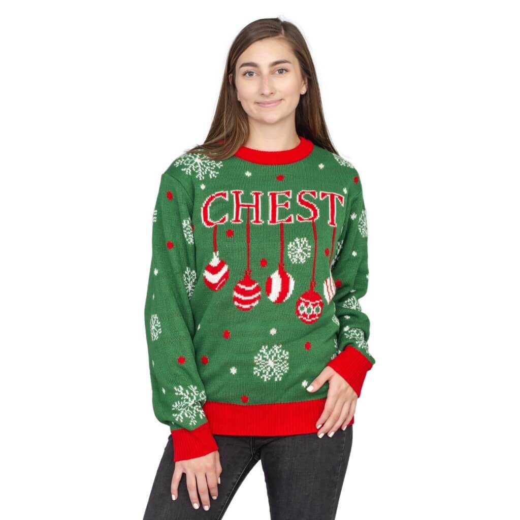 Womens's Nuts Snowflakes Christmas Tree Ugly Christmas Sweater