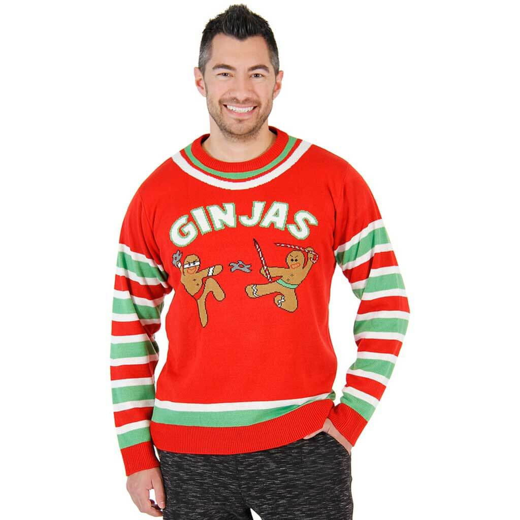 Funny Christmas Sweater.Fighting Ginjas Gingerbread Ninjas Ugly Christmas Sweater