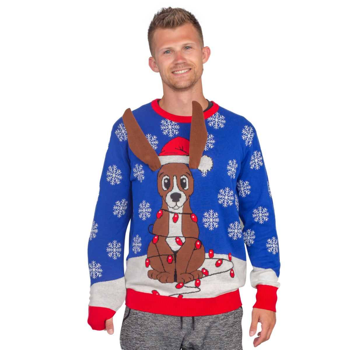 Flappy Dog Animated Puppy Ears Ugly Christmas Sweater