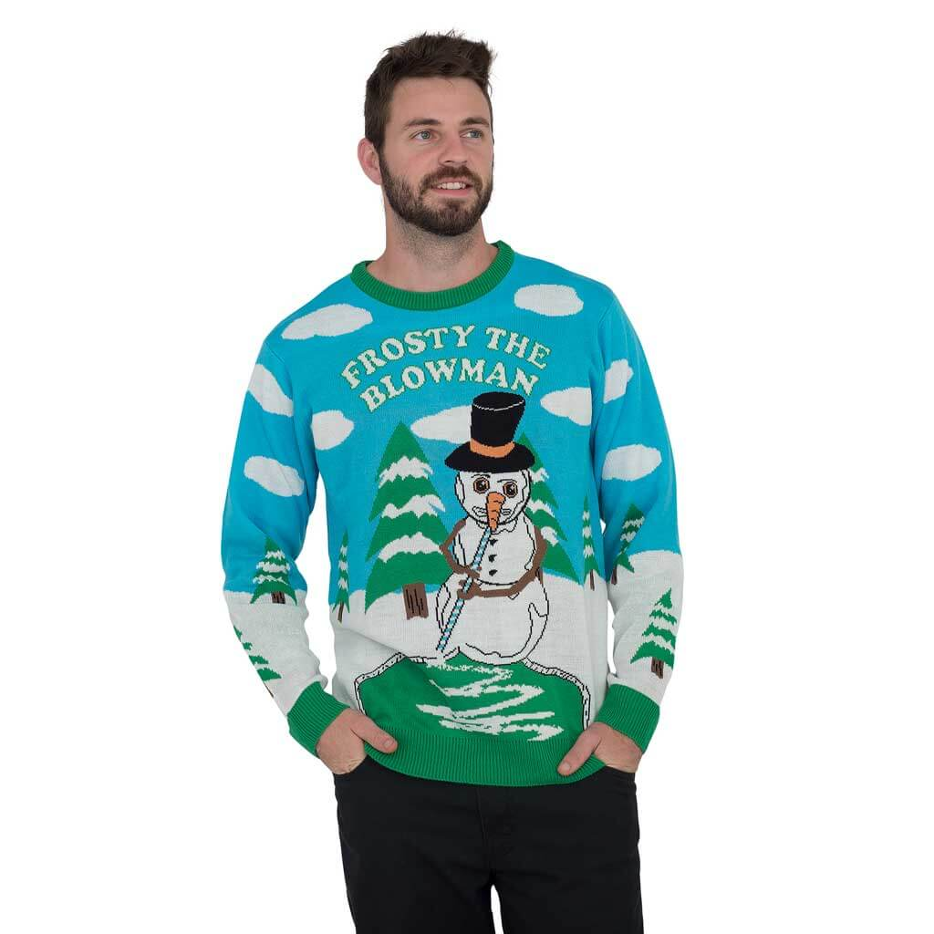 599749334 Frosty the Blowman Snowman Ugly Christmas Sweater