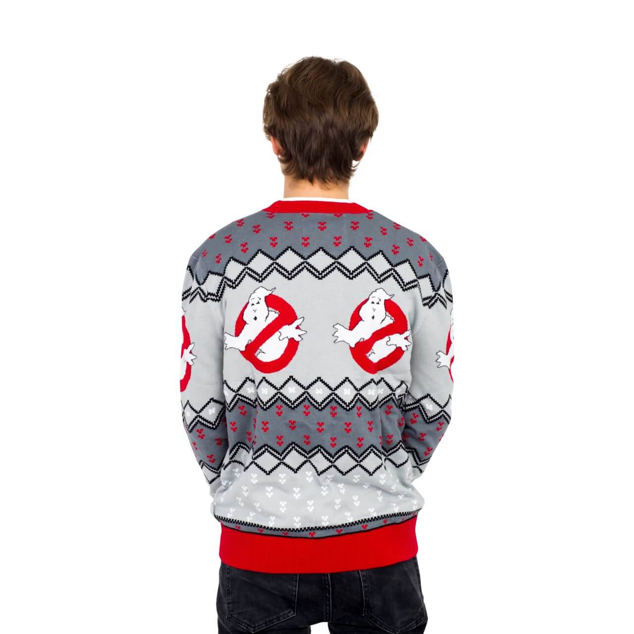 c6a9c5c01101 Ghostbusters Logo Ugly Christmas Cardigan Sweater Back