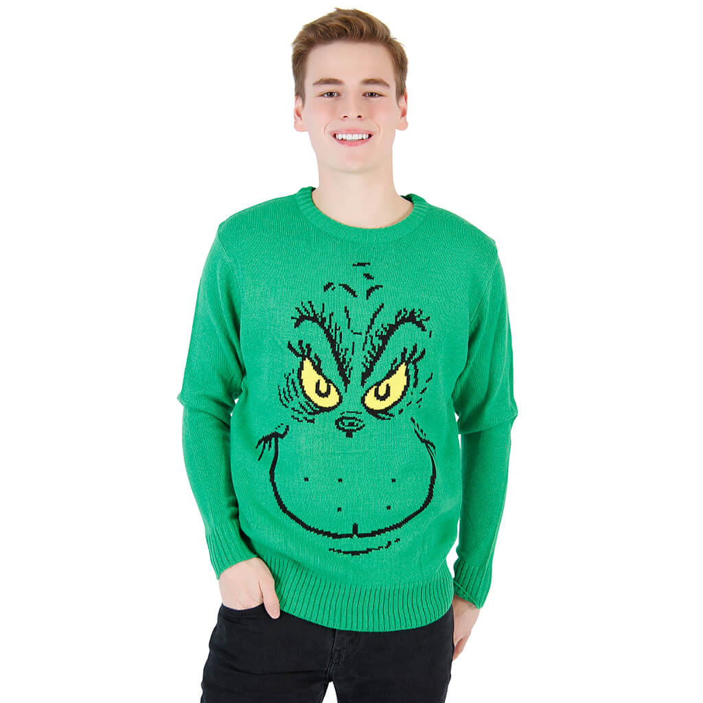 grinch face dr seuss christmas sweater - Grinch Ugly Christmas Sweater