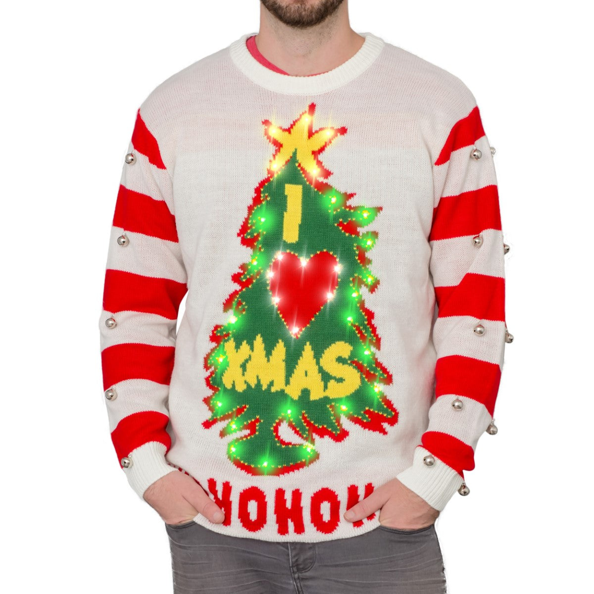 I Love Xmas Hohoho Light Up Led Christmas Tree And Star Ugly Christmas Sweater