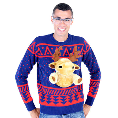 Navy 3D Christmas Sweater with Stuffed Moose