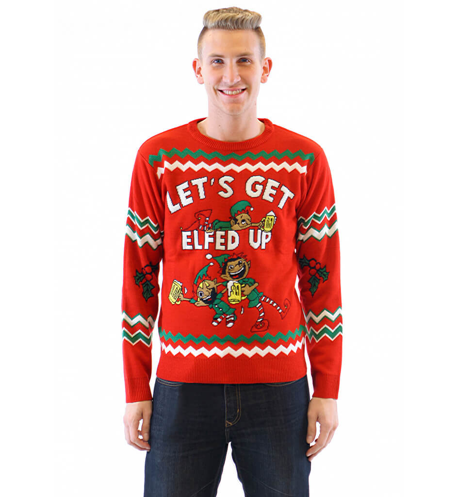 lets get elfed up drunken elves ugly christmas sweater - Cheap Mens Ugly Christmas Sweater